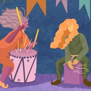 Two people playing percussion instruments