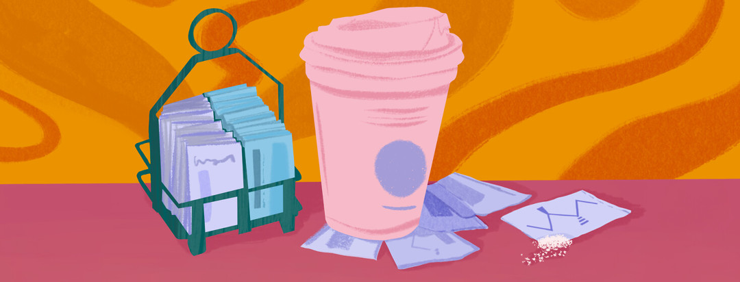 Coffee cup featured with sugar substitute packets; xylitol compound featured on packet.