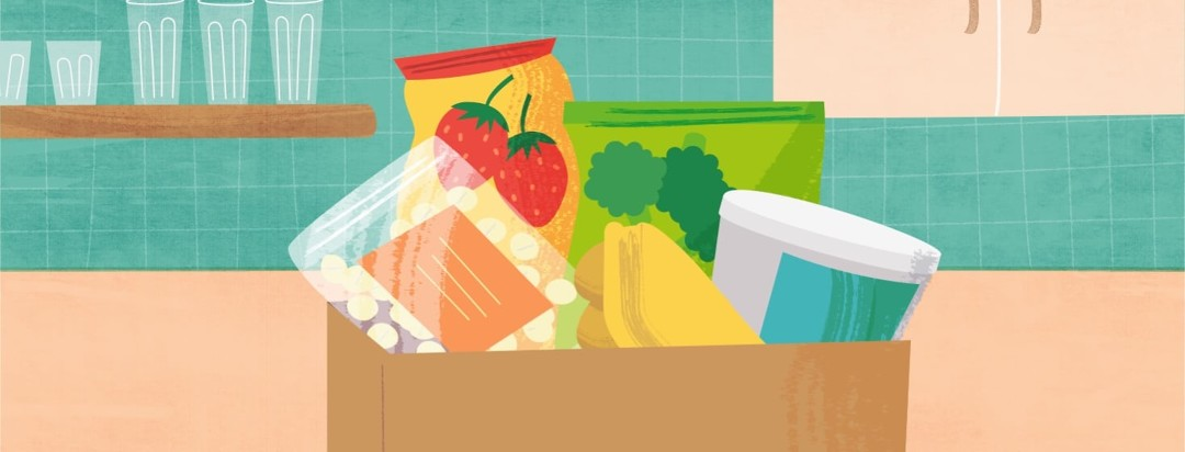 a grocery bag full of the groceries outlined in the article.