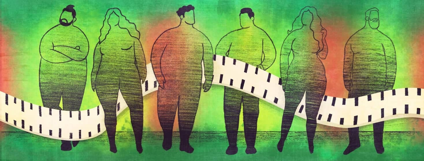 A line of all body types standing next to each other. They're in silhouette. A tape measure weaves its way in between all of them.