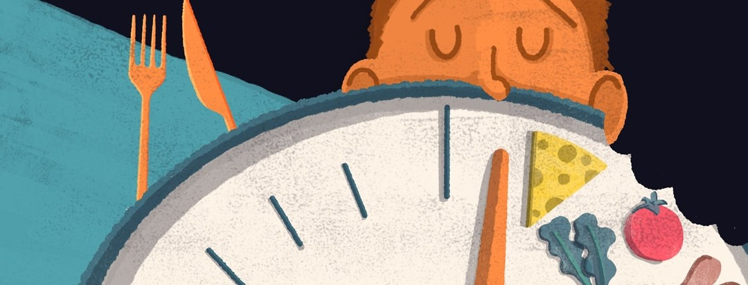 A face taking a bite out of a clock. In front of the hour hand is icons of food.
