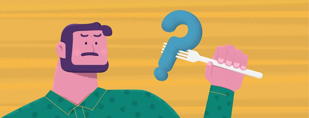 a man holding a question mark on a fork