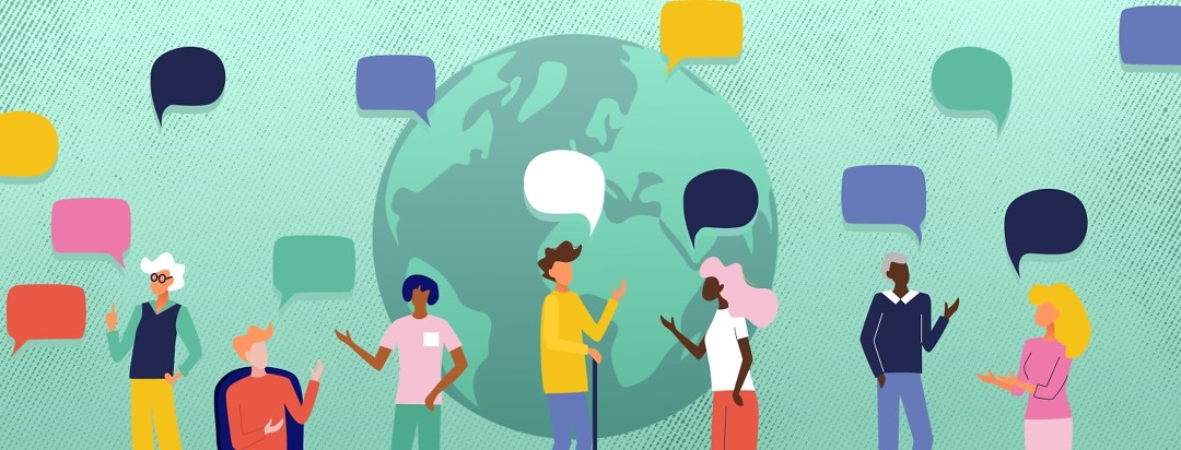 people from around the world talking to each-other