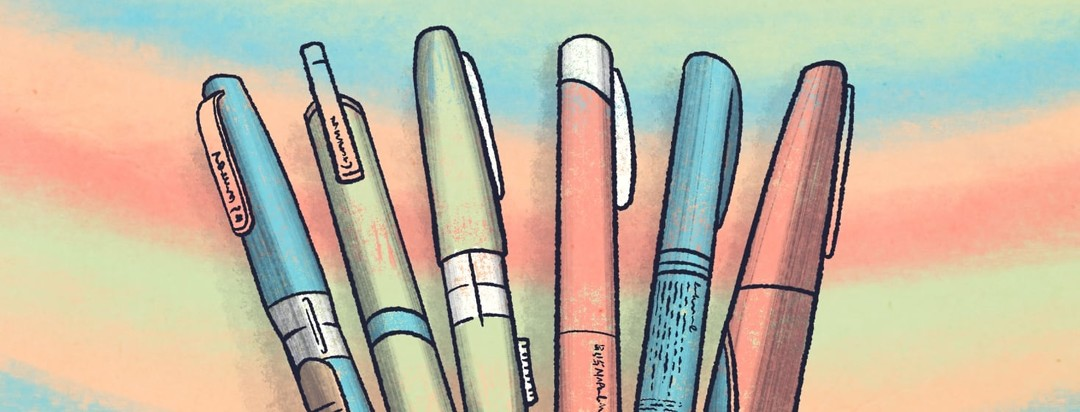 A collection of insulin injector pens fanned out