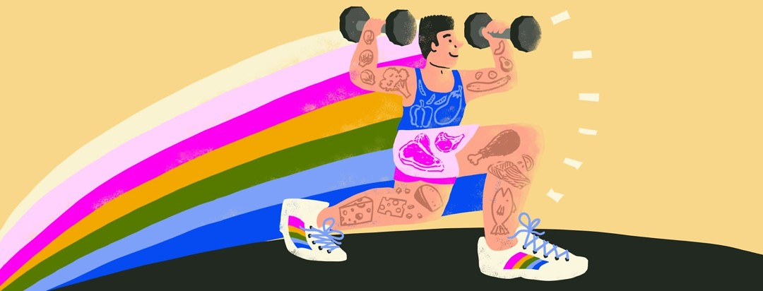 a man doing lunges and food drawn on his body