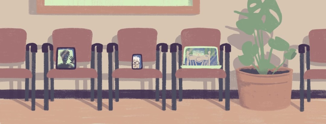 A doctor's waiting room with a row of chairs and plant. Instead of people sitting in the chairs there are devices with video's of patients on them.