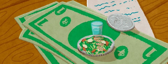 A small number of dollars and coins sitting on top of a receipt. One of the coins is a plate with a chicken salad on top and a small glass of water next to it.