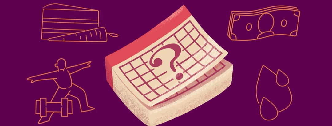 a calendar with a question mark on it surrounded by food, money, exercise and blood droplets
