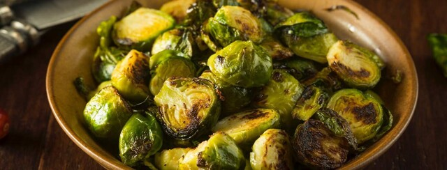 Plate of roasted brussel sprouts.
