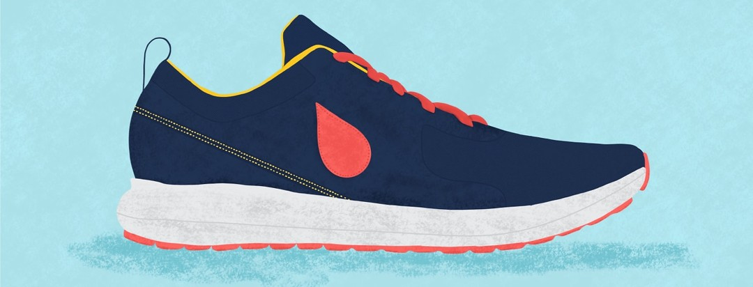 a sneaker with a blood droplet logo