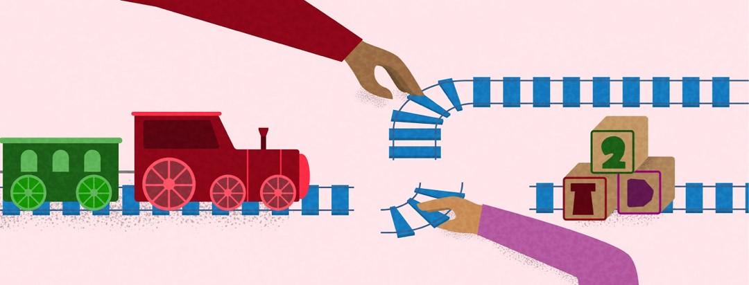 a train moves forward while the track gets built avoiding hazards