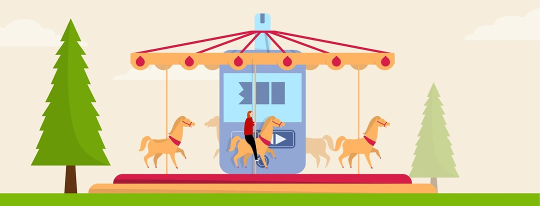 A woman stuck on a merry-go-round and there is a glucose meter in the center