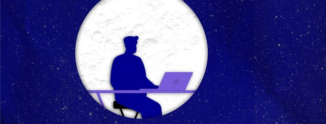 a man doing work in the silhouetted in a moon