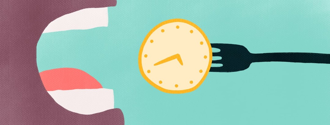 a mouth about to eat a clock