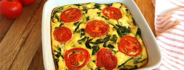 Spinach, Feta, and Tomato Egg Bake image