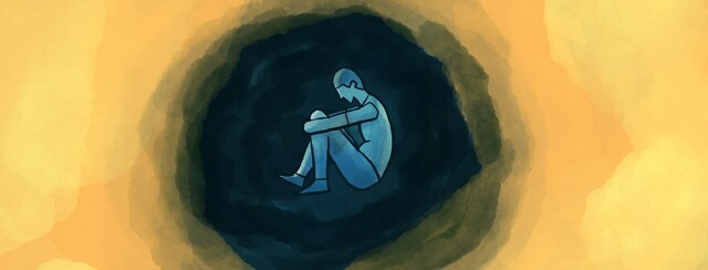 A man curled up in a dark cloudy circle