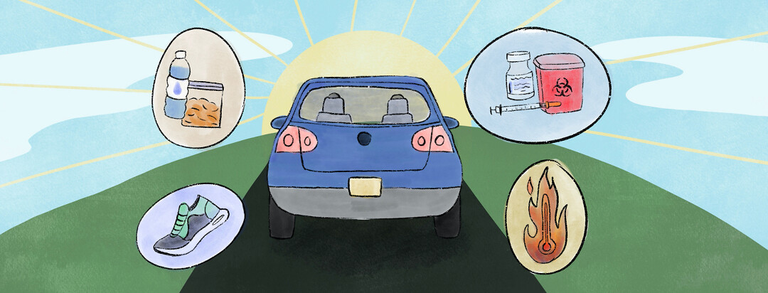 Blue car driving into the sunset surrounded by bubbles containing sneakers, water and snacks, insulin and a biohazard container, and a hot thermometer