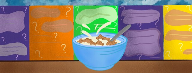 A Bowl of cereal with milk splashes sitting in front of mysterious cereal boxes