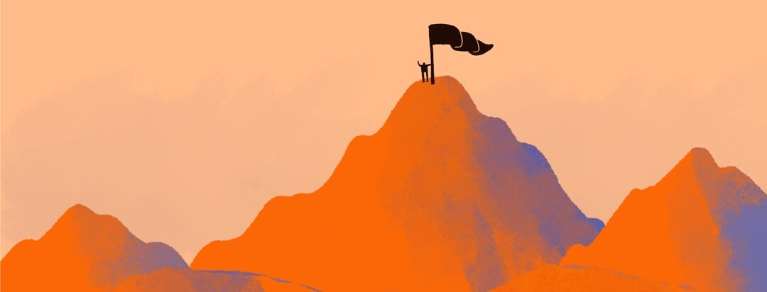 a tall mountain with a person plating a flag at the peak