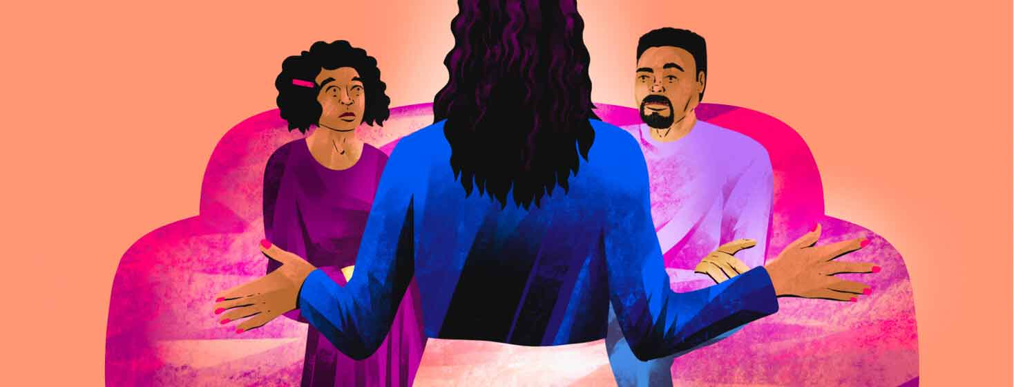 A woman stands with her back to the viewer with her arms out, speaking to two people sitting on a couch in front of her. explaining, family, skeptical, judgement, home, sofa, talking, speaking adult African American Black female, adult African American Black male