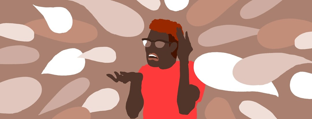 a person surrounded by speech bubbles looking confused