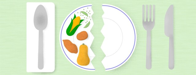 a plate broken in half with starchy vegetables on one side