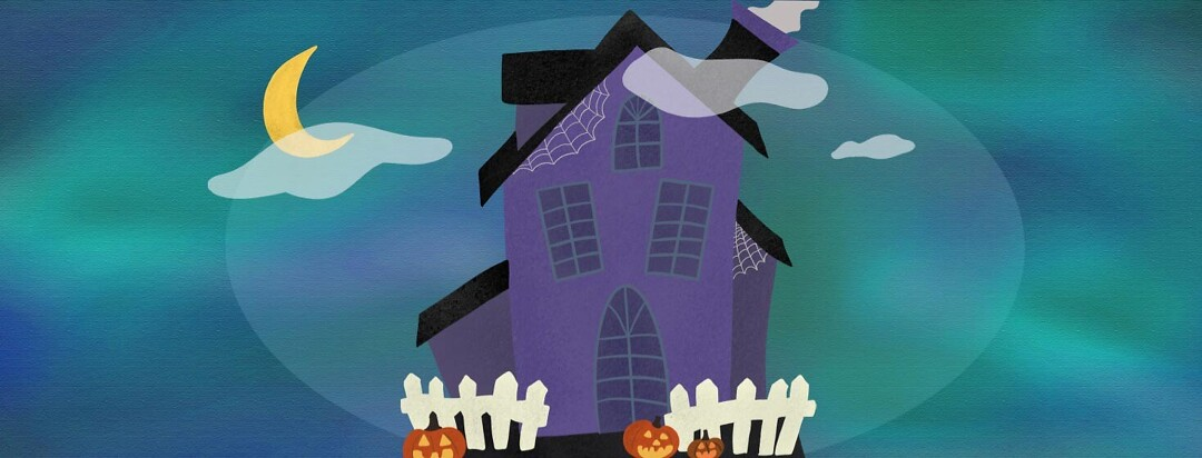 House looking spooky decorated for halloween